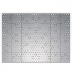 Silver metal jigsaw puzzle vector
