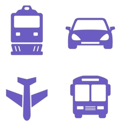 Transport icon set with train plane car and bus vector