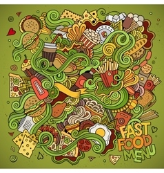 Fast food doodles elements background vector