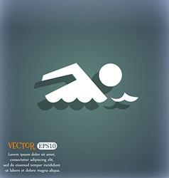 Swimming sign icon pool swim symbol sea wave on vector