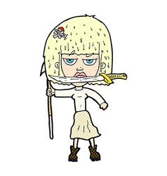 Comic cartoon woman with knife and harpoon vector