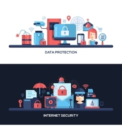 Flat design website data security headers banners vector