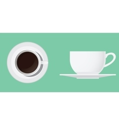 Cup of coffee isolated from top and side vector