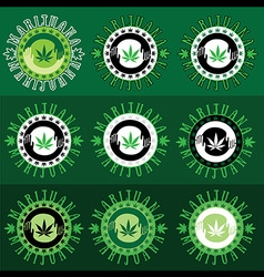 Marijuana cannabis green leaf symbol stamps vector