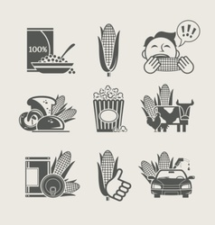 corn and products set icon vector image