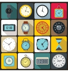 Time and clock icons set vector