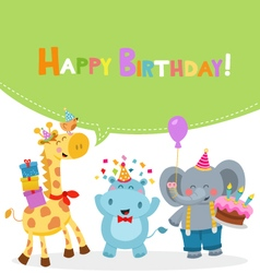 Animal Birthday Card vector image vector image