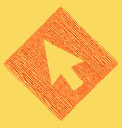 Arrow sign red scribble icon vector