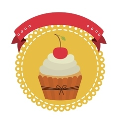 circular border with cupcake with cream and cherry vector image