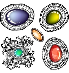 Colored stones with zentangle line art vector image vector image