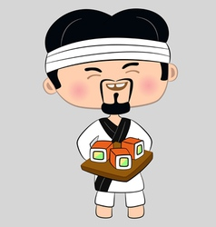 cook with tray of sushi vector image