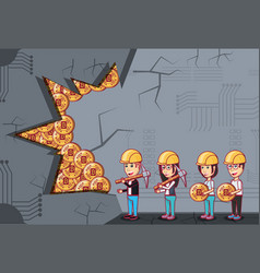 cryptocurrency mining design vector image