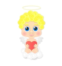 Cute angel with heart vector