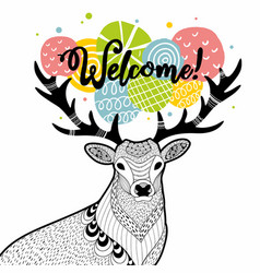doodle deer with message on the horns vector image vector image