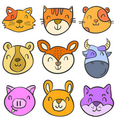 doodle of animal colorful funny cute vector image vector image