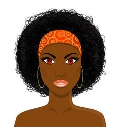 Face of beautiful african black woman vector
