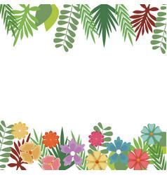 Flowers foliate border with leaves blossom garden vector