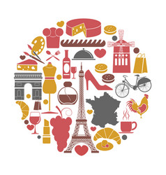 France travel sightseeing icons and vector