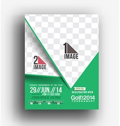 Golf tournament front back flyer template vector