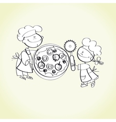 Kid cooking vector