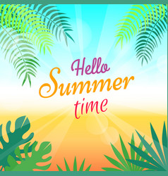 Lovely summer promotional poster with green palms vector