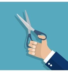 Man holding Scissors in hand vector image vector image