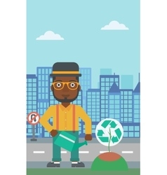 Man watering tree with recycle sign instead of vector image vector image