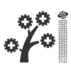 Medical technology tree icon with job bonus vector