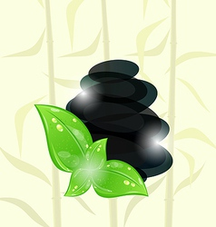 Meditative bamboo background with cairn stones vector