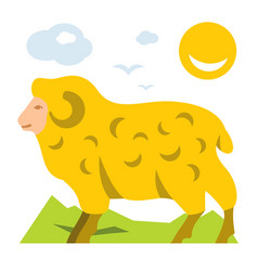 Mountain sheep flat style colorful cartoon vector