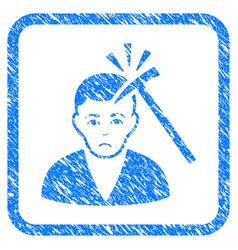 Murder with hammer framed stamp vector