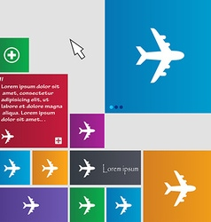 Plane icon sign buttons Modern interface website vector image