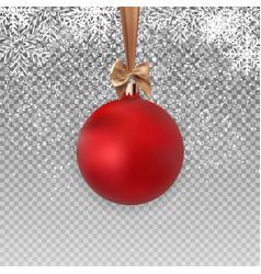 red christmas ball with ball and ribbon on vector image