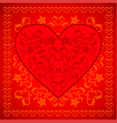 red valentines day background card with flowers vector image