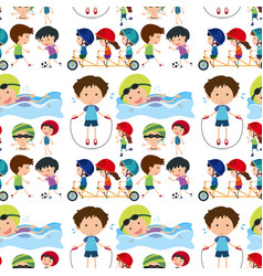 seamless background with kids playing sports vector image
