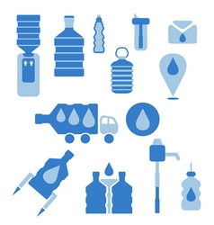 Set of icons for theme bottled water flat design vector image
