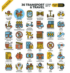 transport logistic travel outline icons vector image vector image