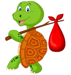 Turtle cartoon traveling vector