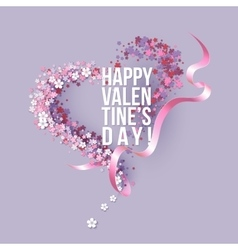Valentines Day card with pink flowers heart shaped vector image vector image