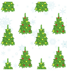 Christmas seamless texture with decorative trees vector