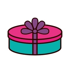 Gift box ribbon purple bow round vector