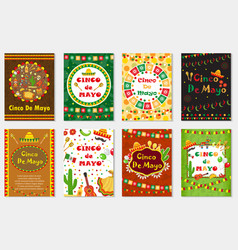 Cinco de mayo set greeting card template for vector