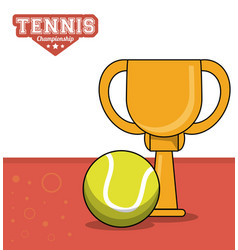tennis sport trophy ball design image vector image