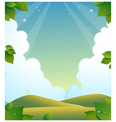 Green landscape with clouded sky vector