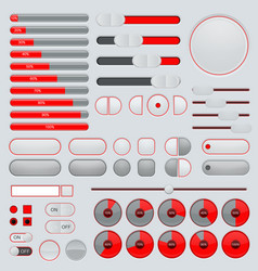 Set of interface buttons red and gray collection vector