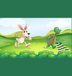 Rabbit and turtle in the race vector