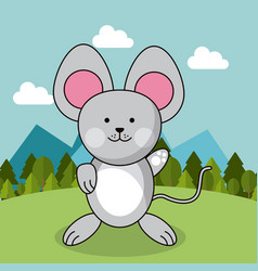 Cute mouse adorable landscape natural vector