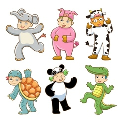 Kid with animals costume vector