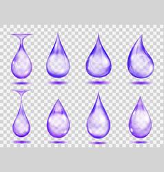 Transparent purple drops vector