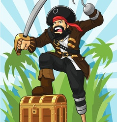 Pirate with His Treasure Chest vector image